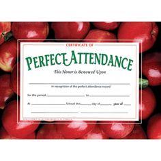 Printer-Compatible Certificates & Awards, Perfect Attendance, HVA513