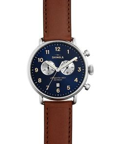 Shinola Canfield Mens Chronograph Watch with Blue Dial and Brown Leather Strap (quartz movement) Timex Watches, Women's Watches, Cheap Watches, Wrist Watches, Fashion Watches, Swiss Army Watches, Luxury Watches For Men, Stylish Watches, Casual Watches