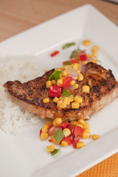 smoked paprika pork chops with bell pepper corn relish