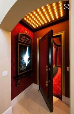 maison Home Theater Entrance Home Theater Entrance entrance mit bar mit bar, design Home Theater Room Design, Movie Theater Rooms, Home Cinema Room, Home Theater Decor, Game Room Basement, Basement Laundry, Laundry Room, Basement Entrance, Basement Ceilings