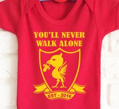 Baby's Liverpool FC football team inspired RED bodysuit onesie baby grow. You'll never walk alone. Very cute! by MumKnowsBabyGrows on Etsy