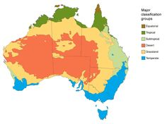 Map 1: The key climate 'major classification groups' in Australia, from the Bureau of Meteorology website.