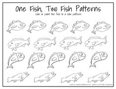 fish patterns for kids | One Fish Two Fish Patterns - Page 001