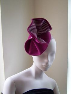 Orchid Pink Velour Cocktail Hat  BY MIND YOUR BONCE   #millinery #hats #HatAcademy