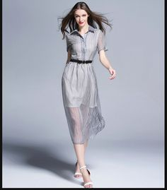 new lapel stripe dress in summer Cultivate one's morality silk dress