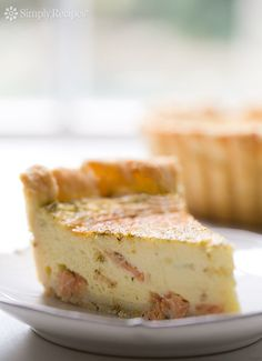 Quiche with all-butter pastry crust, filled with custard baked with smoked salmon, fresh dill, shallots, and goat cheese. Smoked Salmon Quiche, Goat Cheese Quiche, Butter Pastry, Butter Pie, Dill Salmon, Quiche Recipes, Quiche Custard Recipe, Cheese Recipes, Souffle Recipes