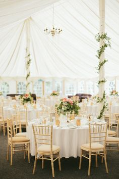 Gold and white wedding reception: http://www.stylemepretty.com/2014/10/30/charming-english-countryside-wedding-in-yorkshire/ | Photography: M & J - http://www.mandjphotos.com/