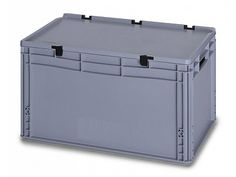 66 Litre Lidded European Standard Plastic Container - Stackable Straight Sided Storage Box