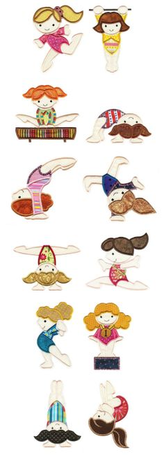 Embroidery | Free Machine Embroidery Designs | Cute Gymnasts Applique