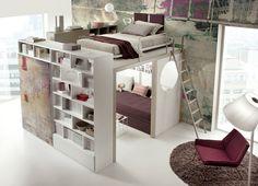 Pokój dziecięcy, pokój młodzieżowy, pokój dla nastolatka, łóżko piętrowe, regały. Zobacz więcej na: https://www.homify.pl/katalogi-inspiracji/14966/pokoj-mlodziezowy-inspiracje-i-aranzacje