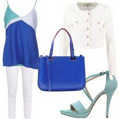 Look da giorno composto da: pantaloni bianchi, canotta blu e verde acqua, maxibag blu e sandali verde acqua. Giacchino di jeans bianco a completare loutfit.