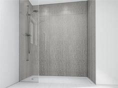 Guest bathroom shower, partial glass
