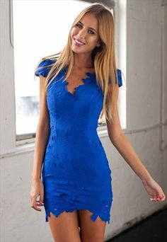 Blue Cap Sleeve Lace Dress - All For Love Dress