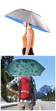 36'' Diameter Elastic Fishing Gardening Folding Umbrella Hat Headwear