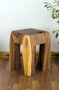 "Blocky Wood Stool 12"" T x 15"" B x 19"" H Shown in Tung Oil"