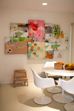 love the cluster of abstract canvases. Make some of my own paintings and maybe hang them in my craft room? (when i have one!)