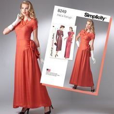 Vintage 1940's Simplicity Sewing Pattern S8249 Misses' Gown & Dress … WeaverDee.com