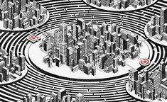 Mazes from the book Extreme Labyrinths: Cityscapes, by Tom Radclyffe. Labyrinths, Freelance Illustrator, Detailed Image, Cityscapes, The Book, City Photo, How To Draw Hands, Illustration, Artist