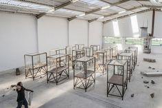 Kader Attia, Arab Spring, 2014, 16 broken museum showcases, site specific installation.