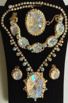 Stunning Juliana D&E Grand Parure - Geode Necklace, Bracelet, Earrings and Brooch.