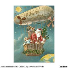Vintage Christmas Card - Rare Old Fashioned - Airship Santa Theme - Victorian Era Edwardian Style - Traditional Merry Xmas Wishes Greeting Best Design - Blank Inside to Write own Message Vintage Greeting Cards, Vintage Christmas Cards, Vintage Holiday, Vintage Postcards, Holiday Cards, Christmas Gifts, Christmas Tree, Vintage Images, Unique Vintage