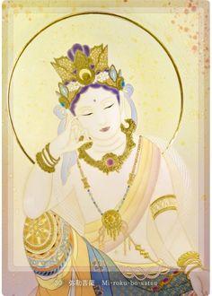 観音力カード:30.弥勒菩薩   メッセージ   善も悪もなく、全てが一つにつながって、 生き生かされていることを……
