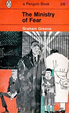 The Ministry of Fear by Graham Greene. Cover by Paul Hogarth Book Cover Art, Book Cover Design, Book Design, Book Art, Penguin Books, Penguin Publishing, Vintage Penguin, Graham Greene, Penguin Classics