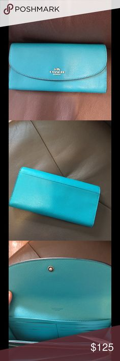 NWT Coach Turquoise leather wallet Love this color authentic Coach wallet  New in box with tag $250 Slim envelope wallet 4 x 8 Silver hardware Coach Bags Wallets