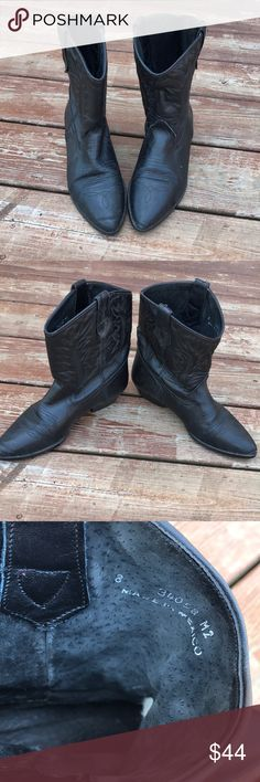 Short black cowboy boots Short black cowboy boots made in Mexico. Size 8! Shoes Ankle Boots & Booties