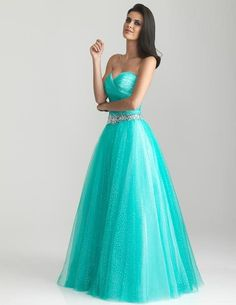 I found 'Aqua Gathered Shimmer Tulle Sweetheart Prom Gown' ...