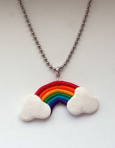 Rainbow Necklace Polymer Clay Charm by madebymichelle on Etsy, $10.00