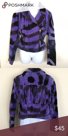Miss Sixty Suede Jacket Miss Sixty Suede Tye dye jacket with fringe detail - I love this jacket.  Unfortunately, the color (bright purple periwinkle) does not look great AND the fit is off because I'm so tall.  Fabulous jacket, this is a RePosh for me. Excellent condition.  Smoke free, pet free home Miss Sixty Jackets & Coats