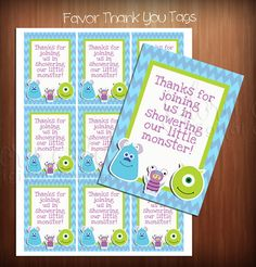 Monsters Inc. Favor Thank You Tags Instant by PixelPerfectGraphics, $3.50