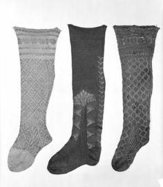 Italian, early 17th century stockings silk, knitted Boston MFA