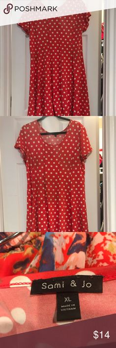 Red Polka Dotted Dress Beautiful red with white polka dots Sami & Jo Dresses Red Polka Dot Dress, Polka Dots, Red And White, Summer Dresses, How To Make, Closet, Beautiful, Things To Sell, Style