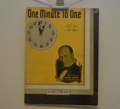 Vintage 1933 One Minute to One Music and by FloridaFindersPaper, $10.00