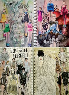 Art Sketchbook Ideas: Creative Examples to Inspire High School Students - Fashion design research pages Source by - A Level Textiles Sketchbook, Sketchbook Layout, Gcse Art Sketchbook, Fashion Design Sketchbook, Fashion Design Portfolio, Sketchbook Inspiration, Sketchbook Ideas, Sketch Fashion, Teddy Bridgewater