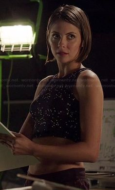 Thea's star printed crop top on Arrow.  Outfit Details: http://wornontv.net/39344/ #Arrow