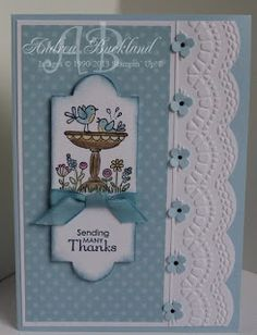 handmade card ... sweet bird bath image ... blue and white card ... luv the embossed and cut edge treatment ... Stampin' Up!