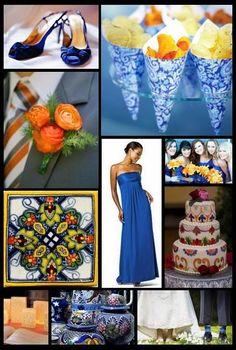 Blue and orange wedding