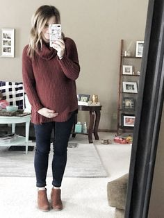Maternity style — baby bump style — cozy winter sweater — fall baby bump