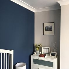 Our bedroom 💙 One wall in Hicks Blue by The Little Greene Paint Company and the other three in Ammonite by Farrow & Ball. Navy Bedroom Walls, Boys Bedroom Paint, Navy Bedroom Decor, Boys Bedroom Colors, Navy Walls, Grey Boys Rooms, Navy Living Rooms, Navy Blue And Grey Living Room, Farrow And Ball Bedroom