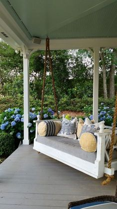 front porch decor ideas - Porches have their background in very early America and are frequently related to a simpler time and lifestyle, Best Rustic Farmhouse Front And Back Porch Designs Ideas Summer Front Porches, Summer Porch Decor, Front Porch Swings, Winter Porch, Porch With Swing, Patio Swing, Deck Patio, Front Porch Seating, Backyard Hammock