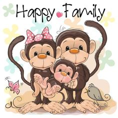 Family of three cute monkeys Royalty Free Vector Image Unique Drawings, Art Drawings For Kids, Animal Drawings, Cute Drawings, Monkey Drawing, Monkey Art, Cute Monkey, Cartoon Monkey, Cute Cartoon
