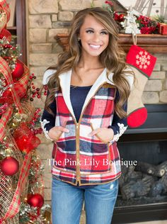 Perfect For Me Plaid Vest - The Pink Lily Boutique