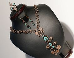 Copper jewelry set-turquoise jewelry set by BeyhanAkman on Etsy