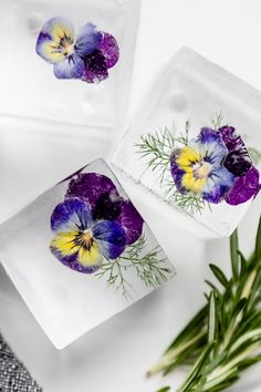 cake Pretty edible flowers - How to Make Perfect Infused Ice Cubes cake Pretty edib Flower Ice Cubes, Flavored Ice Cubes, Cocktail Maker, Vegan Wedding Cake, Flavor Ice, Flower Food, Frozen Treats, Summer Drinks, Pansies