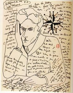 self-portrait by jean cocteau in a letter to paul valéry, october 1924.