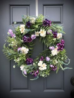 Spring Wreath Purple White Green Fern Wreath Spring Door Decor Spring Gift Ideas for Her Mother's Day Gifts Purple Floral Wreath Spring