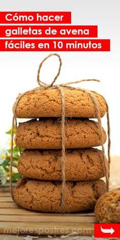 Cómo hacer galletas de avena fáciles en 10 minutos #galletas #galletasdeavena #recetasdegalletas #recetasfáciles #recetasrápidas Bakery Recipes, Cookie Recipes, Snack Recipes, Snacks, Good Healthy Recipes, Healthy Sweets, Sweet Recipes, Cooking Cookies, Coconut Cookies